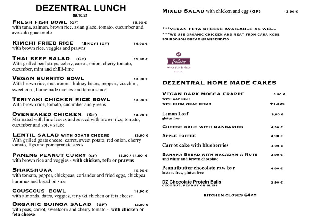Our specials for today, Dezentral Marbella